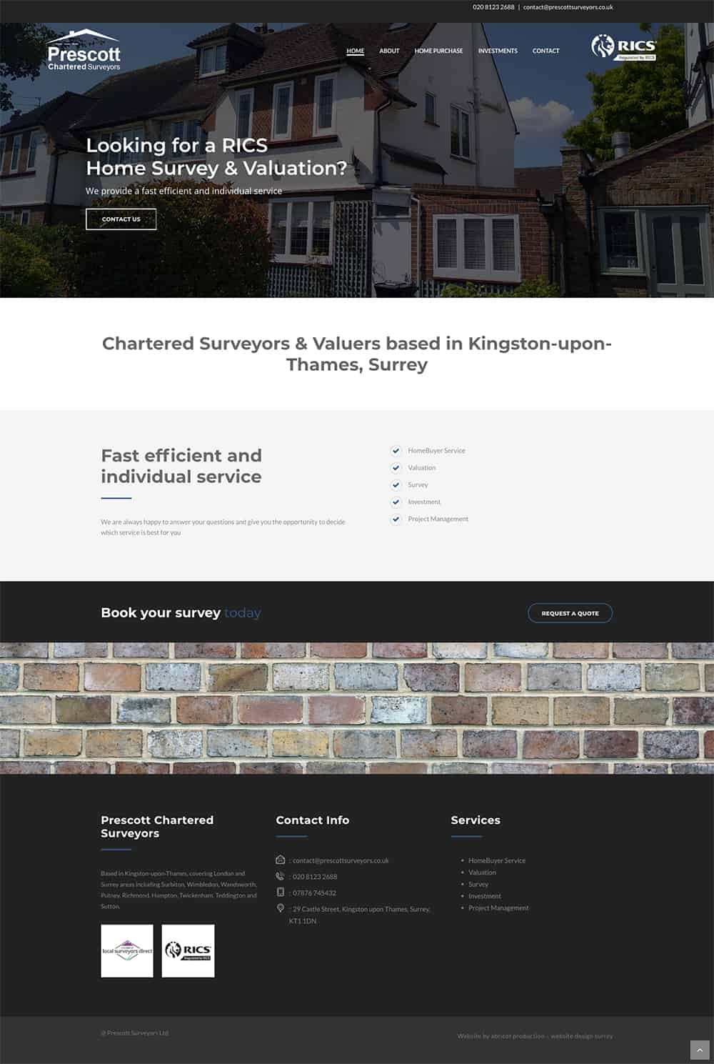 Prescott Surveyors Kingston-upon-Thames, Surrey - Web design