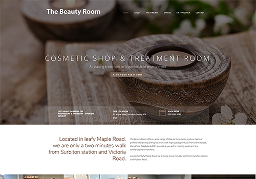 The Beauty Room in Surbiton, Surrey - Web design