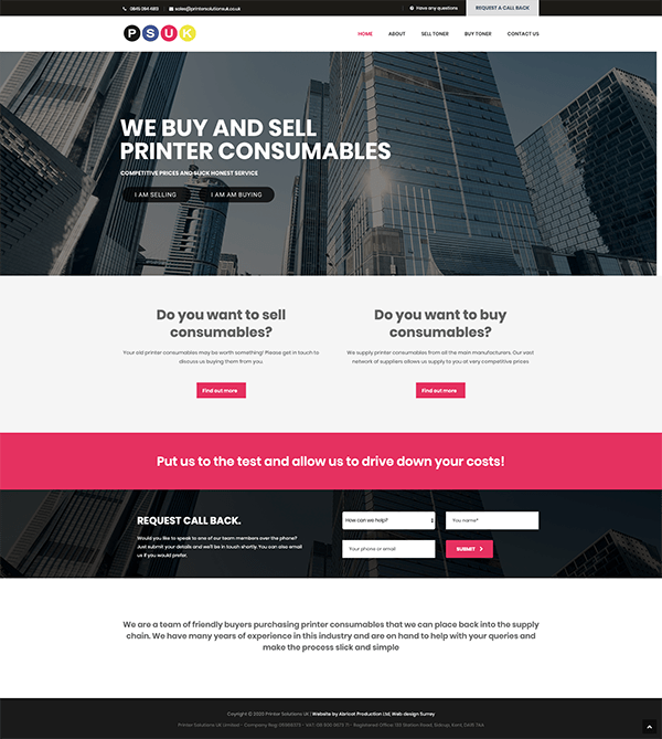 Printer Solutions UK Ltd Website