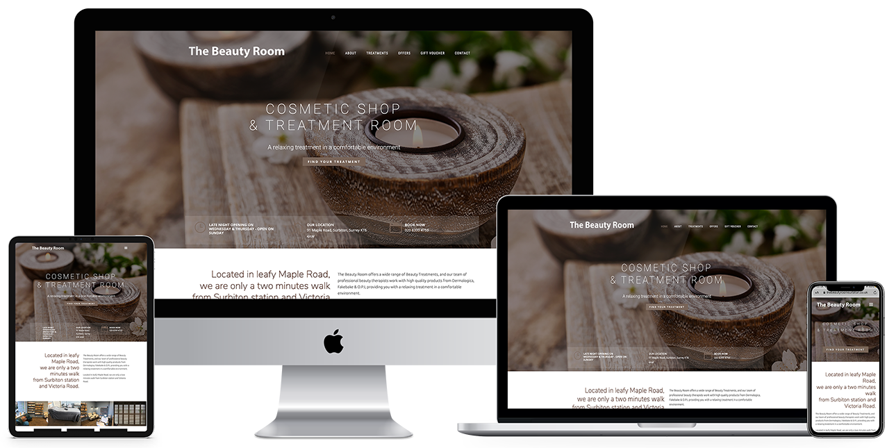 Responsive web design - The Beaty Room, Surbiton Surrey