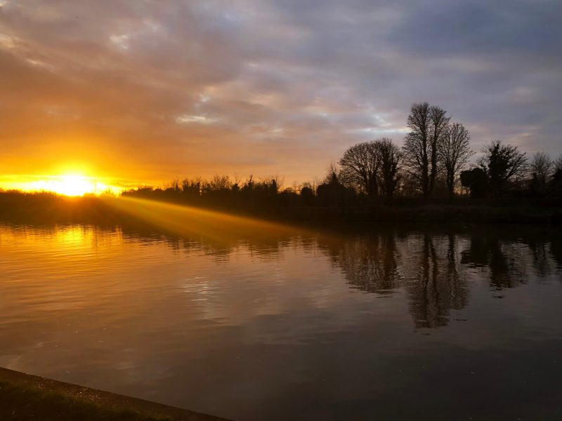 Beautiful sunset on the Thames river in Kingston Surrey