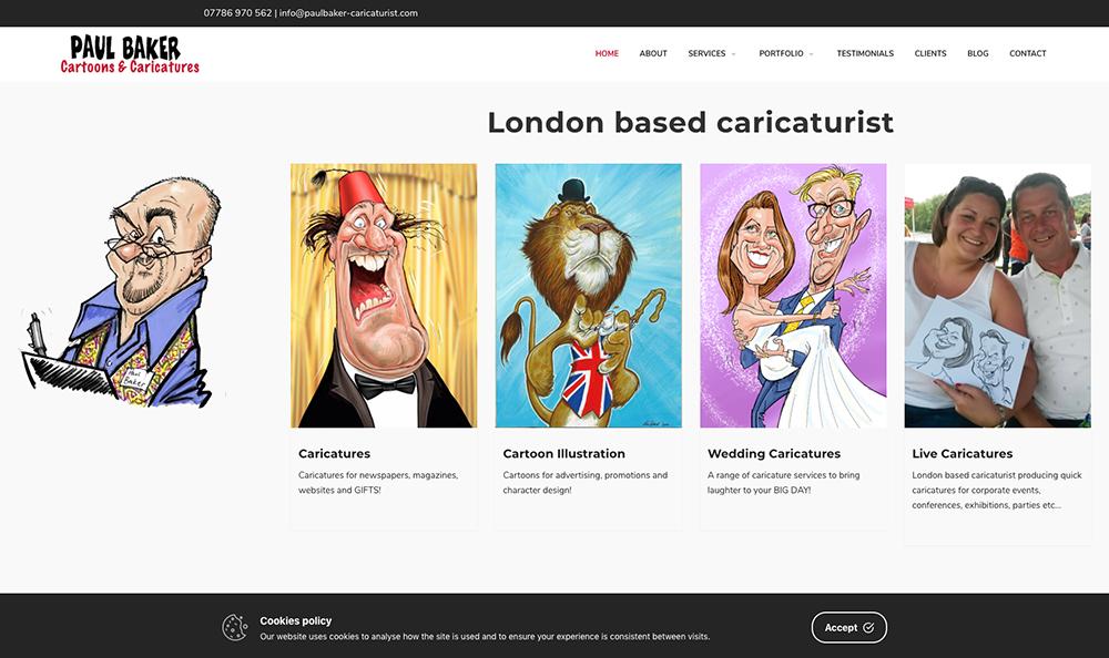 Paul Baker Caricaturist London website